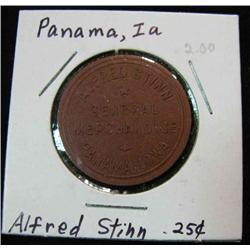 905. Alfred Stinn, General Mdse., Panama, Iowa, Good for 25c in Trade.