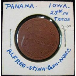 906. Alfred Stinn, General Mdse., Panama, Iowa, Good for 25c in Trade.