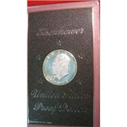 204. 1973 S Proof Eisenhower Silver Dollar in original brown box.