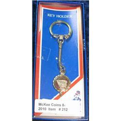 212. 1886-1986 Castana Iowa Centennial Key ring. New in box.