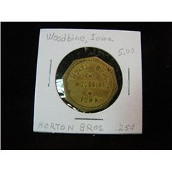 944. Horton Bros. Woodbine, Iowa, Good for 25c in Trade. Brass.