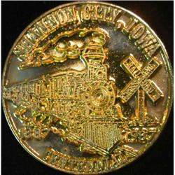 217. 1887-1987 Shannon City, Iowa Gold-plated Pewter Centennial Medal.