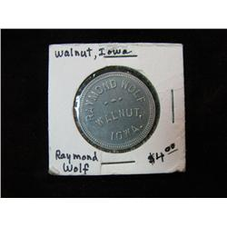 950. Raymond Wolf, Walnut, Iowa, Good for 50c in Trade. Aluminum.