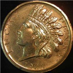 "221. 1924 ""Lucky Penny"" ""Souvenir of Des Moines Iowa"". 74mm."