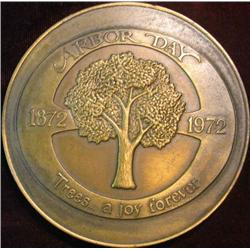 """222. 1872-1972 Arbor Day """"Trees… a joy forever"""" Bronze High-relief Medal. 67mm."""
