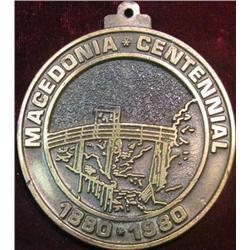"223. ""Macedonia Centennial 1880-1980 Medal"" Suspension Pendant Style. Brass. High Relief."
