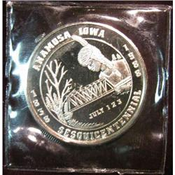 224. 1838-1938 Anamosa Iowa Sesquicentennial .999 Fine Silver Medal. 39mm.