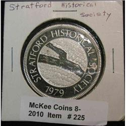 "225. 1979 Stratford Historical Society Proof .999 Fine Silver Medal 0.94 ozs. ""1894 Linnburg"