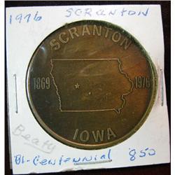 1051. 1869-1976 Scranton, Iowa,  US Bicentennial Bronze Medal.
