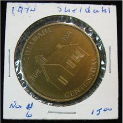 1053. 1874-1974 Sheldahl, Iowa, Bronze Centennial Medal.