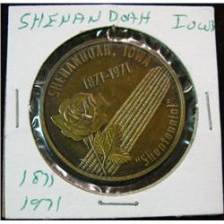 1054. 1871-1971 Shenandoah, Iowa, Bronze centennial Medal.