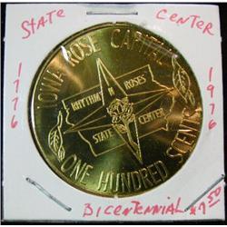 1064. 1776-1976 State Center, Iowa, US Bicentennial Brass Medal.