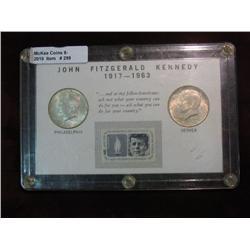 299. 1964 P & D Kennedy Half Dollars Set in a special Commemorative case with .06c