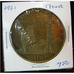 1074. 1881-1981 Thor, Iowa, Bronze Centennial Medal.