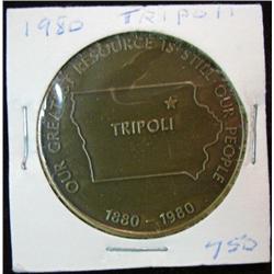 1081. 1880-1980 Tripoli, Iowa, Bronze Centennial Medal.