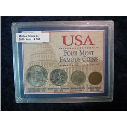 309. U.S.A. Four Most Famous Coins Set with Indian Cent. Buffalo Nickel, Bicentennial