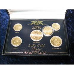 1085. 2000 Year Set Gold Plated Contains, Cent, Nickel, Dime, 2-Quarters & Sacagawea Dollar.