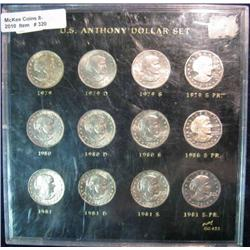 320. 1979-81 Complete Set of P, D, & S Susan B. Anthony Dollar Coins in a holder.