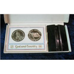 1134. Pair God and Country Silver Medals in Custom Holder.