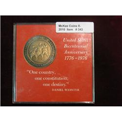 343. 1776-1976 Bicentennial Anniversary Medal in a special holder. 39mm. Antique brass