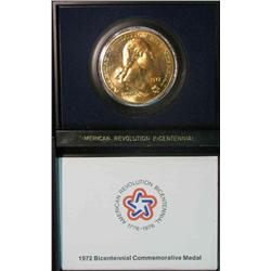 345. 1972 Bicentennial Commemorative Medal. Brass. BU. In special case of issue.