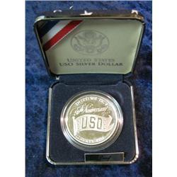 1149. 1991S USO Commemorative Silver Dollar. Proof.