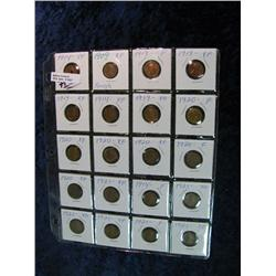 1651. 1909-1921 Plastic Page of Lincoln Cents. F-EF. (20 pcs.).