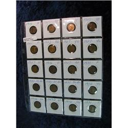 1652. 1916-47 Plastic Page of Lincoln Cents. VG-EF. (20 pcs.).