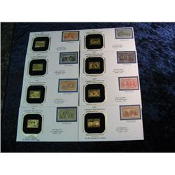 1659. (8) Different 1893 Columbian Exposition Issue 22K Gold Replica Stamps