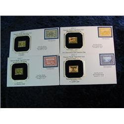 1661. (4) Different 1912-3 Panama-Pacific Exposition 22K Gold Replica Stamps.