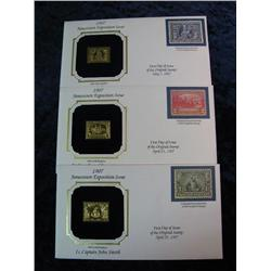 1662. (3) Different 1907 Jamestown Exposition 22K Gold Replica Stamps with covers.