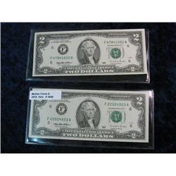 1688. (2) Series 1995 $2 Federal Reserve Notes. AU.