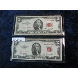 "1691. Series 1953 & 1963 $2 U.S. Notes. ""Red Seal"" F-12."