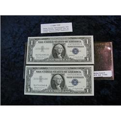 1703. Pair of Consecutively Serial Numbered 1957B $1 Silver Certificates.