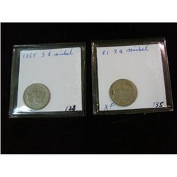 1738. 1865 & 1881 Three Cent Nickels. VF-EF.