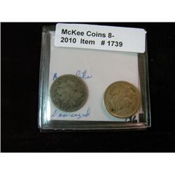 1739. 1872 & 1881 Three Cent Nickels. Both damaged.