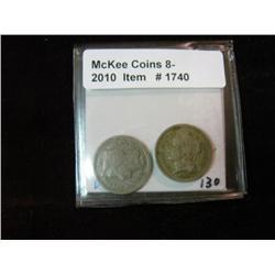 1740. 1866 & 1868 Three Cent Nickels. VG-8.