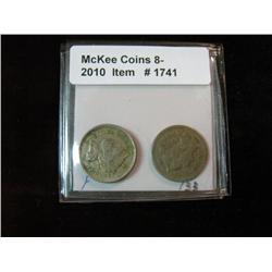 1741. 1866 & 1873 Three Cent Nickels. F-VF.