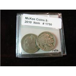 1750. 1919 S & 20 D Buffalo Nickels. G-4.