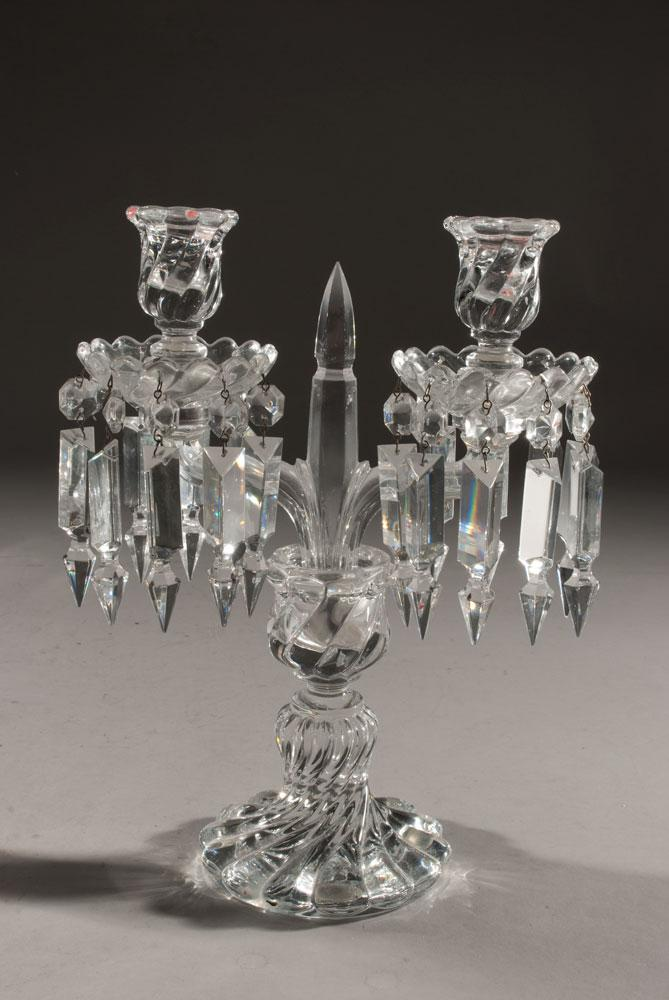Pr Baccarat Two Light Crystal Candelabra