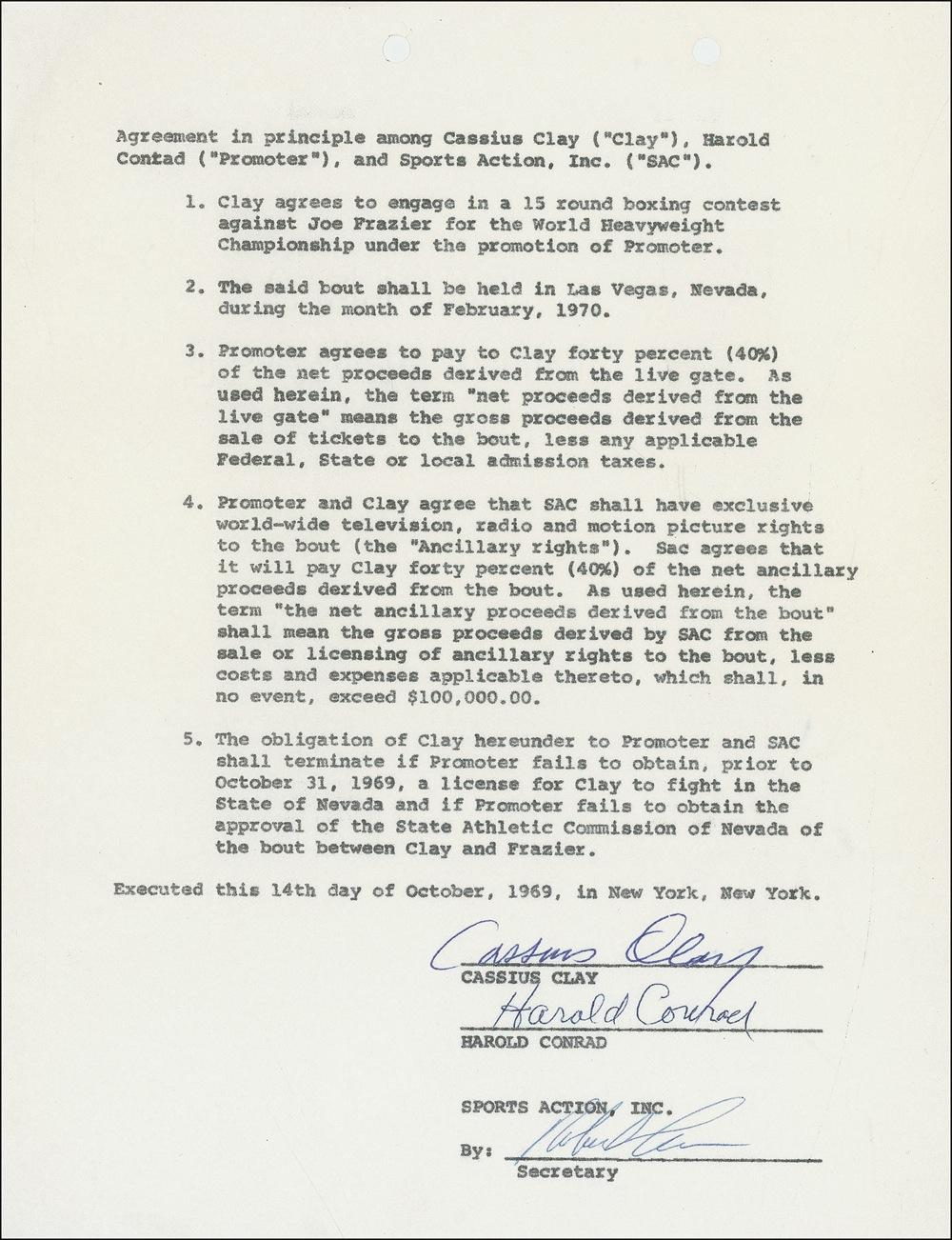 Muhammad Ali Contract Signed