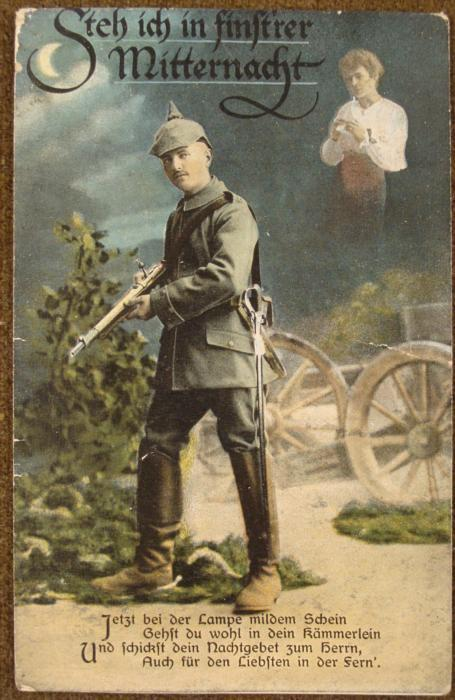 1917 Wwi German Soldiers Postcard To Wife From Battle