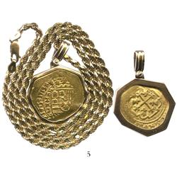 Mexico City, Mexico, cob 4 escudos, 1713J, from the 1715 Fleet, mounted in a 14K gold necklace bezel