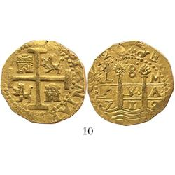 Lima, Peru, cob 8 escudos, 1712M, 2 dates, from the 1715 Fleet.