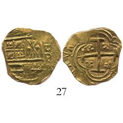 Bogota, Colombia, cob 2 escudos, Charles II, assayer oP to right.