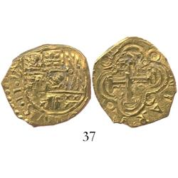 Bogota, Colombia, cob 2 escudos, posthumous Charles II, huge flan, from the 1715 Fleet.