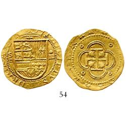 Seville, Spain, cob 4 escudos, Philip II, assayer Gothic D to left of shield.