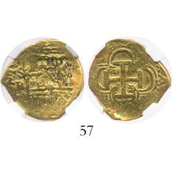 Seville, Spain, cob 2 escudos, Philip II or III, assayer B, from the Guadalupe-Tolosa (1724), encaps