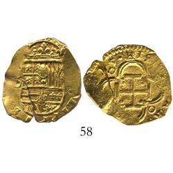 Seville, Spain, cob 2 escudos, (16)15/4D, rare (unlisted) overdate.