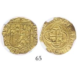 Seville, Spain, 1 escudo, Charles-Joanna, assayer Gothic D to right of shield, encapsulated NGC MS-6